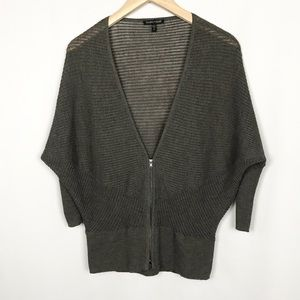 EILEEN FISHER Italian Yarn Wool Knit Zip Cardigan